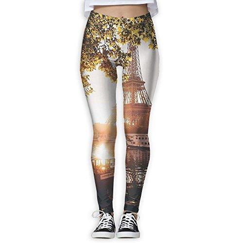 Womens Sunset Paris Training Yoga Leggings Pants Graphic Printed Full Length Running Leggings Pants For Fall/Winter Medium!