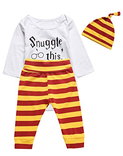 - 3PCS Outfit Set Baby Boys Girls Snuggle This Long Sleeve Bodysuit (White03, 6-12 Months)