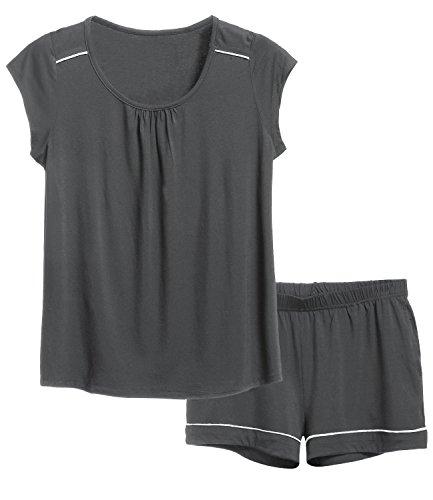 Latuza Women's Short Pajama Set 2X Plus Gray