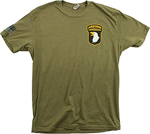 101st Airborne Division & Sleeve Flag | U.S. Military Army Veteran 101 T-shirt-(OD Green,L) - Military Vet Patch