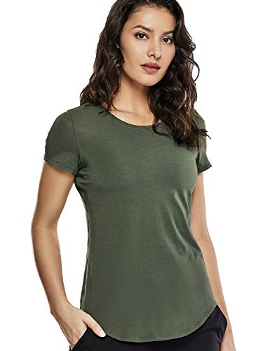 CRZ YOGA Women's Pima Cotton Workout Activewear Travel Sports T-Shirt Short Sleeve Tee Olive Green M(8/10) (Cotton Shirt Workout)