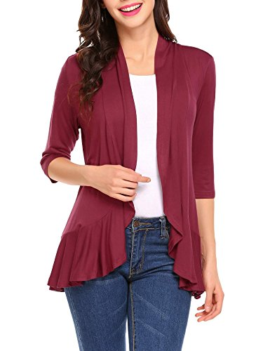 Front 3/4 Sleeve Draped Ruffles Knit Cardigan,Wine Red,Small (Cotton Ruffle Cardigan)