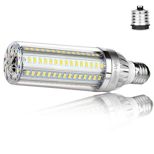 50W Super Bright Corn LED Light Bulb(500 Watt Equivalent) - E26 with E39 Mogul Base Adapter - 6500K Daylight 5500Lumen for Large Area Commercial Ceiling Lights - Garage Warehouse Factory High Bay Barn