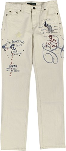 LRL Lauren Jeans Co. Womens Printed Applique Jeans Beige 10