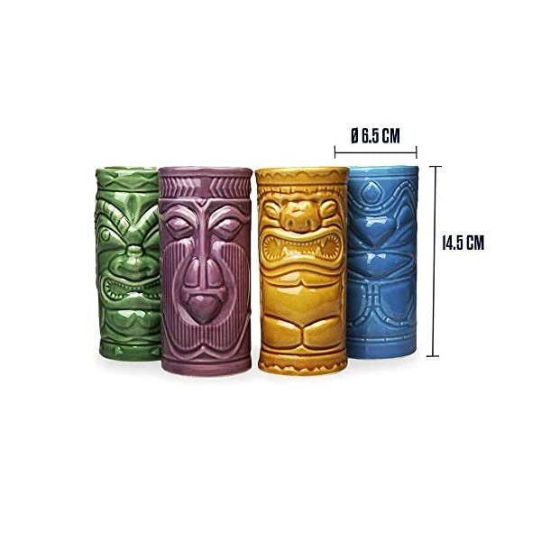 MikaMax – Tiki Mugs Set – Bicchierini Tiki Set di 4 – Tiki Cocktail Mai Tai – Bicchieri da Cocktail – Cocktail Tiki… 3 spesavip