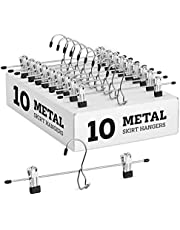 Heavy-Duty Add-On Metal Skirt Hangers with Clips 10 Pack, Multi Stackable Add on Metal Hangers, Adjustable Clip Pants Hanger, Skirt Hanger with Clips, Chrome Hook, Cascading Clip Hanger Jeans, Slacks