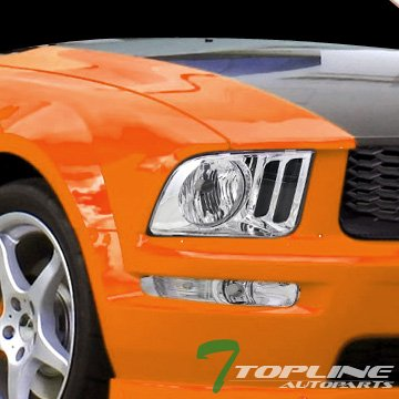 Topline Autopart Crystal Chrome Clear Headlights Lamps Dy 05-09 Ford Mustang V6 V8 GT