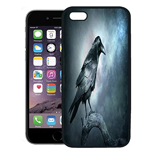 Semtomn Phone Case for iPhone 8 Plus case,Black Raven in Moonlight Perched on Tree Scary Creepy Gothic Setting Cloudy Night Halloween iPhone 7 Plus case -
