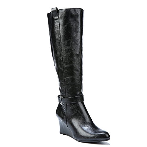 Scarpa Da Donna Womens Caviglia Ginocchio Alto Zeppa Nero In Poliuretano