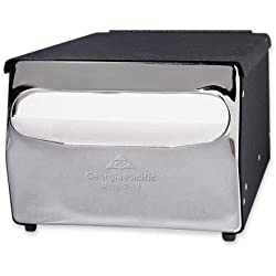 "MorNap 51202 Black with Chrome Full Fold Cafeteria Model Napkin Dispenser, 7.88"" Width x 5.88"" Height x 11.5"" Depth"
