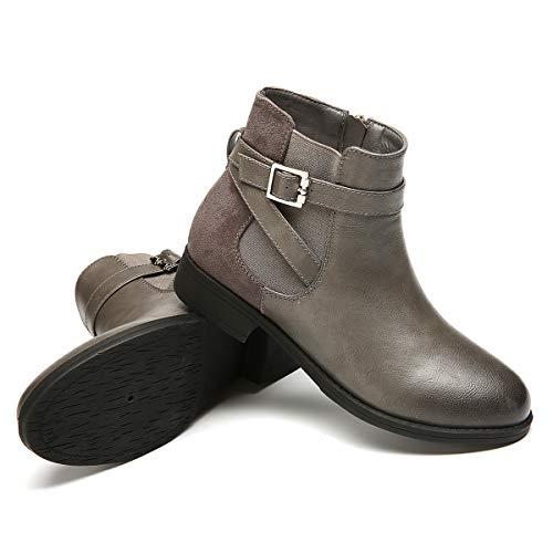 Fourrure Boots Confortable Chaussures Bottines 1 Talons Fourrée Femmes Chelsea Ville Plats Noir Printemps Plates Hiver Gracosy Velour Neige De Intérieur Gris Bottes 8PFqnxgwn