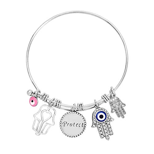 Hamsa Hand Bracelet for Women with Evil Eye Charm for Protection, 14K White Gold Bangle with Hand of Fatima Pendants, Adjustable Lucky Jewelry