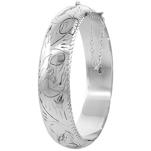 """Bracelet jonc en argent fin 925/1000 gravée à la main Motif Floral/épaisseur :  5 8 """"de large"""