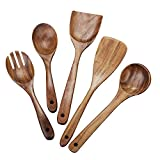 Beauty Kate Wooden Kitchen Utensil Set 5 Cooking Utensils Spatula Spoons for Cooking Nonstick Cookware, 100% Handmade by Natural Teak Wood Without Painting