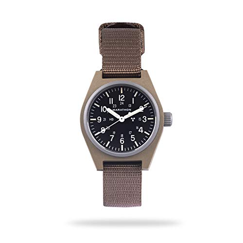Marathon Watch WW194003DT-NGM General Purpose Mechanical (GPM) Military Field Watch with Tritium and Sapphire Glass (34mm, Desert Tan, No Government Markings)
