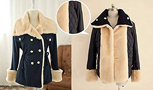 hradWord Winter Fashion Warm Double-Breasted Wool Blend Jacket Women Coat Navy Blue