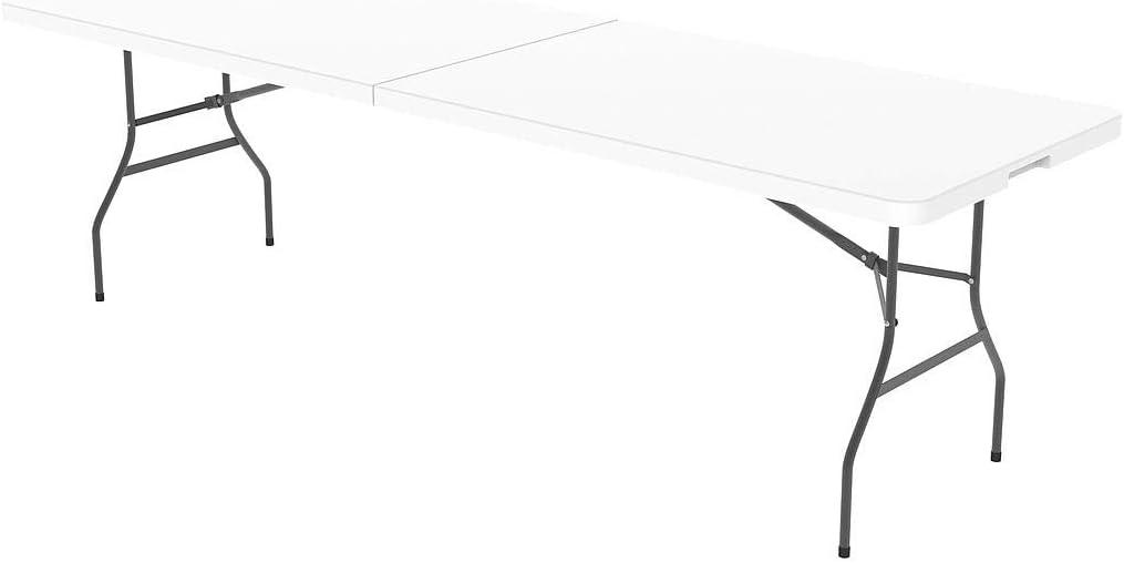 Todeco - Table Pliante Transportable, Table en Plastique Robuste -  Matériau: HDPE - Charge maximale: 100 kg - 240 x 76 cm, Blanc, Pliable en  deux