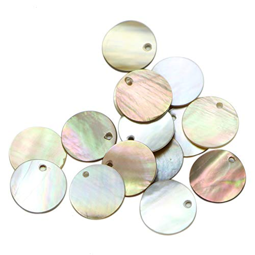 Monrocco 20 pcs Shell Beads Flat Coin Beads for Jewelry Making Findings ()