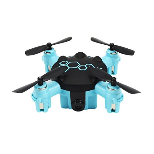 Cinhent Quadcopter FQ04 Beetle Mini Pocket Drone With 0.3MP Camera Headless Mode Toy RTF 4 Channels LED Lights Electric RC Airplanes (Blue)