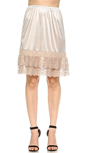 (Double Lace Half Slip Satin Skirt Extender 21