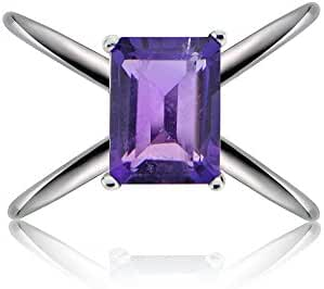 Sterling Silver African Amethyst Octagon-Cut Criss Cross Ring
