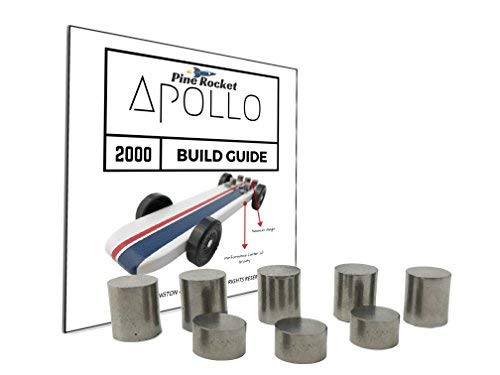 3.25 oz Tungsten Pinewood Derby Weights + 20 Page Step-by-Step Build Guide for Apollo 2000 Pine Car Showing Design + Weight Placement, Bring Your Car to The 5 oz Limit and Gain The Winning Edge!