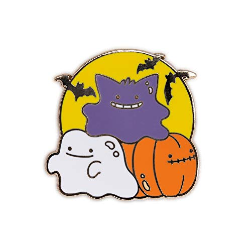 Ghost Pokemon Halloween (Suugr Studio Ditto Halloween Premium Hard Enamel Pin, Gengar Ghost Pumpkin, Purse Brooch, Lanyard Pins, Collectible Buttons, Collar Shirt Pins, Original)