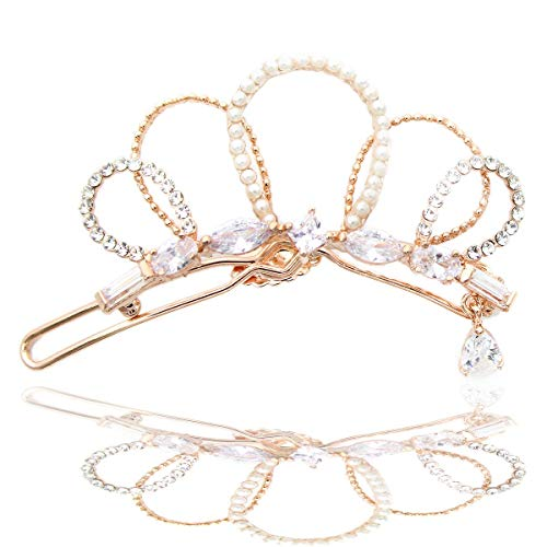 Elegant and luxurious three-stage adjustable crown-shaped pearl zirconia hair clip safety pin (Rose Gold)