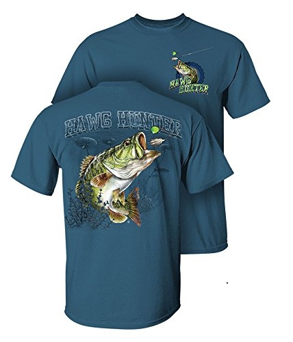 Largemouth Bass Fishing Fish - Follow the Action Largemouth Bass Hawg Hunter Two-Sided Short Sleeve Fishing T-Shirt (XXX-Large)
