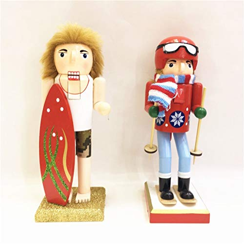 (ZAMTAC 2PC/Set Handicraft Summer Series Cute Wooden Nutcracker 25CM Skier and Surfers Ornaments Special Birthday Gift Home Decoration)