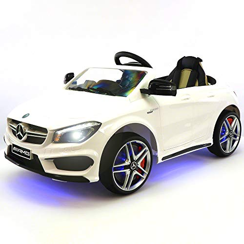 LA 12V Ride On Car for Kids   12V Engine Power Licensed Kid Car to Drive with Remote, Dining Table, Leather Seat, Openable Doors, LED Lights ()