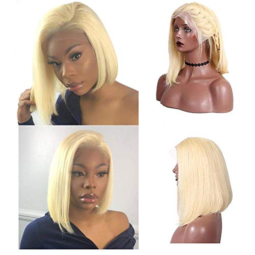 Loviness Short Bob Wig 613 Blonde Human Hair Wigs 8'' 10'' 12'' 14'' Middle Part Lace Front Silky Straight Hair Wigs 180% Density 13X4 Frontal Pre Plucked(8 inches)