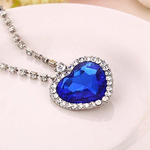 Valentines Gift - Blue Ocean heart Crystal Pendant