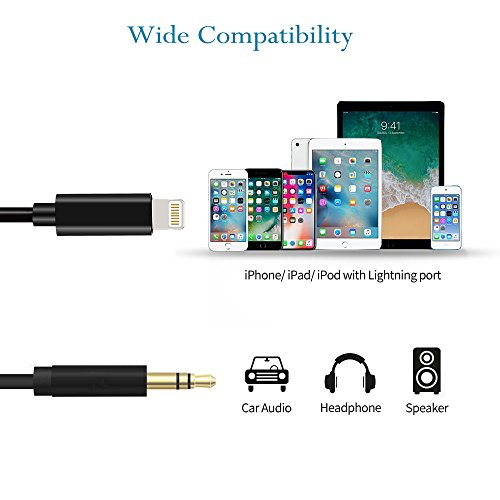iPhone 7 Aux Cord,3.3ft Lightning Aux Cord Support Any iOS Version,Aux Cord for iPhone 7/7 Plus/8/8 Plus/X and Other Devices with Lightning Connector (Black)