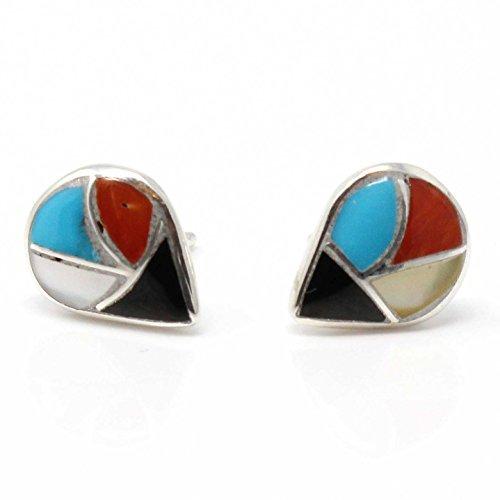 - Zuni Channel Inlay Multi-Stone Tear Drop Stud Earrings Handcrafted By Theresa Leekya