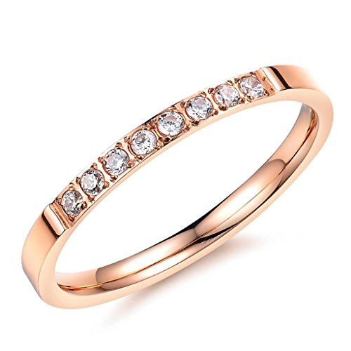 FR 2MM Ladies 316L Stainless Steel Rose Gold Eternity Cubic Zirconia Wedding Rings,Size 7