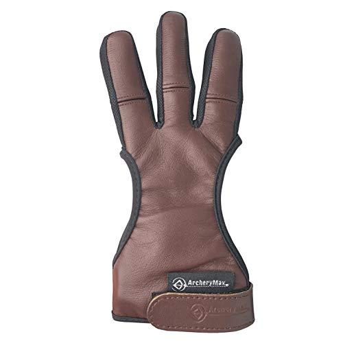 ArcheryMax Handmade Brown Leather Three Finger Archery Gloves (Dark Brown, Large)