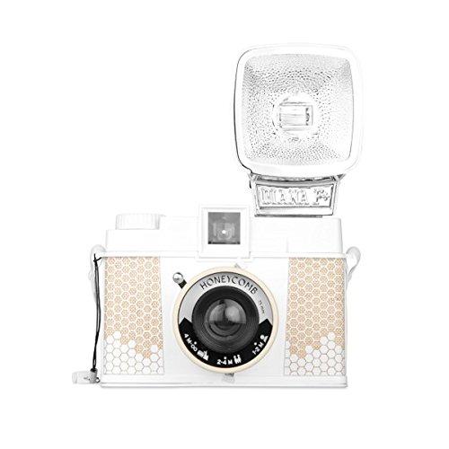Lomography Diana F+ Medium Format Camera, 120 Film Format, 75mm Lens, White/Beige Honeycomb