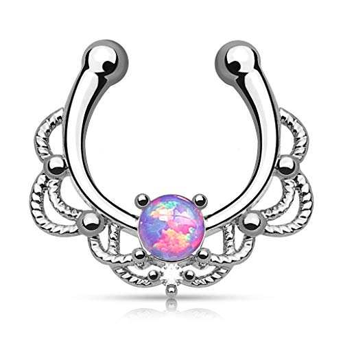 Lacey Single Opal 16g Septum Hanger Clip On Non No Piercing - Choose Blue, White, Pink or Purple Synthetic Opal (Purple)
