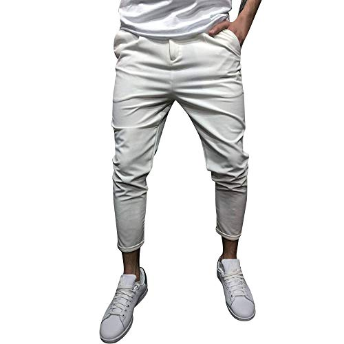 ANJUNIE Mens Fleece Jogger Pants Elastic Active Harem Trouser Slim Fit Casual Drawstring Sweatpants(2-White,L)