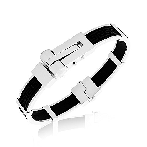 My Daily Styles Stainless Steel Silver-Tone Black Rubber Silicone Greek Key Handcuff Men's Bracelet