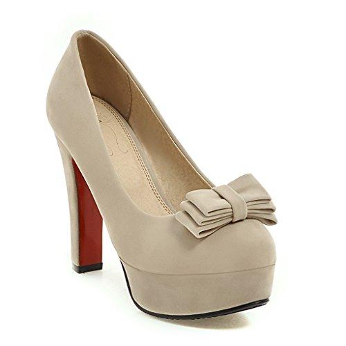 DYF alto nudo redonda mariposa 48 sólido Mujer Color gran de de de tamaño tacón Zapatos cabeza Color de Desnudo r7xYaXrwq