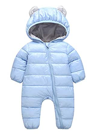 Unisex Baby Hooded Winter Puffer Snowsuit Warm Zip Up Long Sleeve One-Piece Coat with Double Head Zipper Blue 3-9 Months