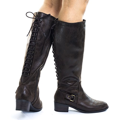 Brown Biker Boots For Women - 2