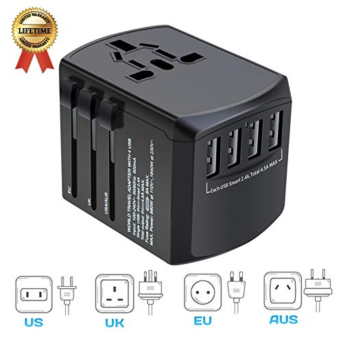 International Travel Adapter, Worldwide Travel Charger with 4 USB Ports Power Converters for EU, UK, US, USA, AU, Europe & Asia, All-in-one Universal Wall Plug Multi-Outlets Electrical Adaptor ()