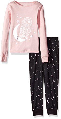 The Children's Place Big Girls' Foil Owl Printed 2 Piece Sleepwear, Pink Sea Salt 90288, 8
