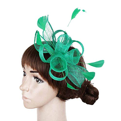 Surprisedresshatglasses-Halloween hat Colors Select Elegant Gold Hair Fascinator Hats Hair Comb Feather Wedding Hair Accessories,Green