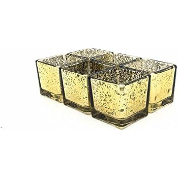 Amazon.com: V-More Square Cube Mercury Glass Candle Holder, Votive ...