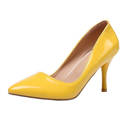 AllhqFashion Womens Closed-Toe Pull-On PU Solid High-Heels Pumps-Shoes Yellow