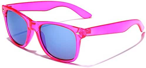 Retro 80's Fashion Sunglasses - Colorful Neon Translucent Frame - Mirrored Lens